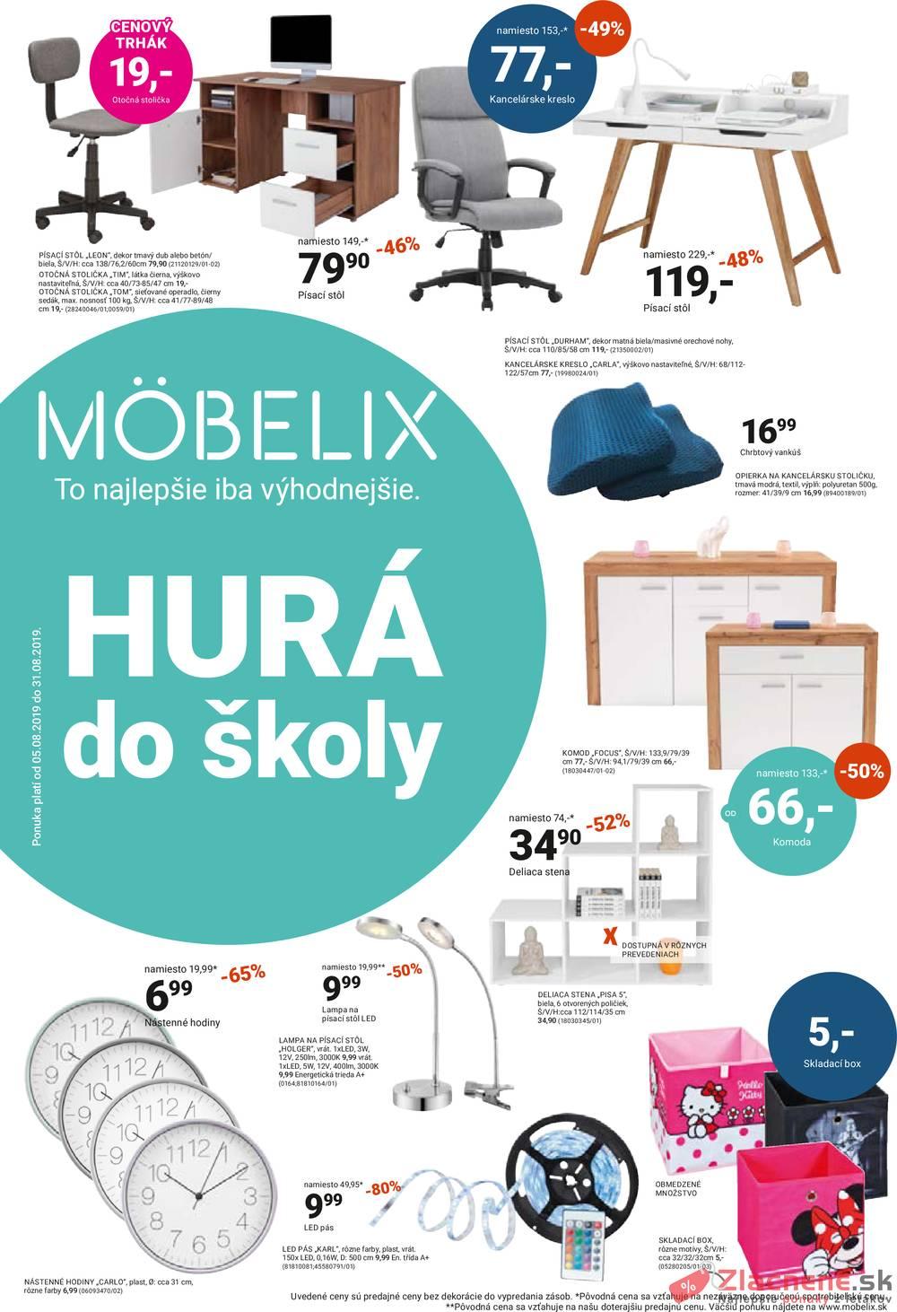 Leták Möbelix - Möbelix HURÁ do školy od 5.8. do 31.8.2019 - strana 1