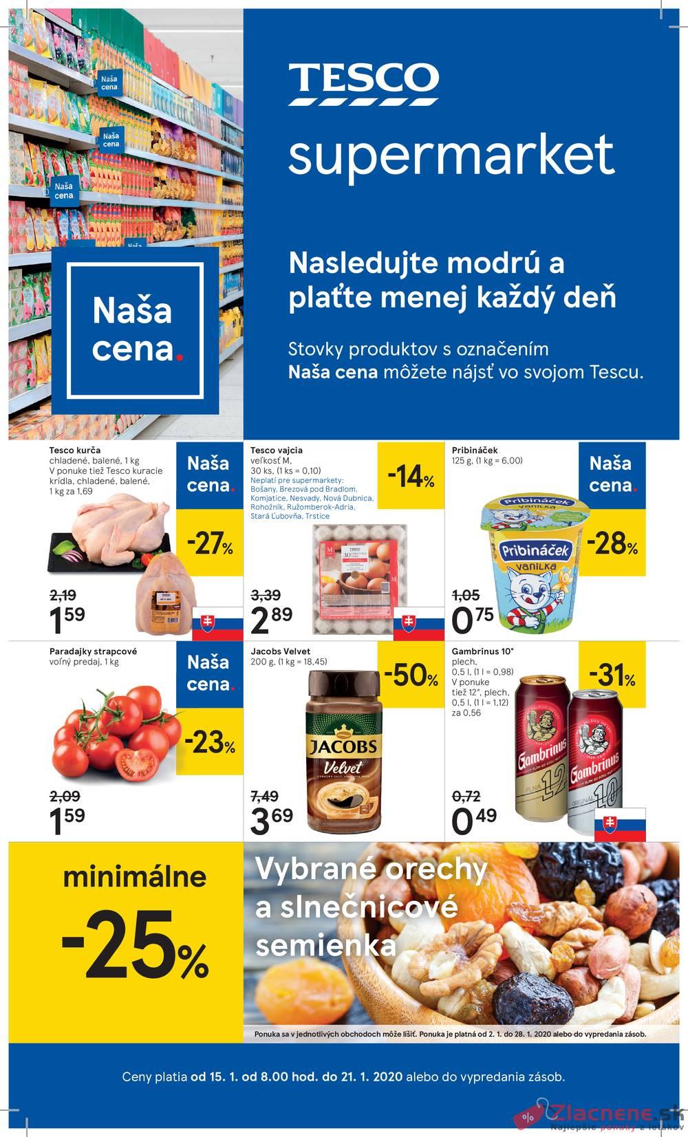 Leták Tesco - Tesco supermarkety od 15.1. do 21.1.2020 - strana 1