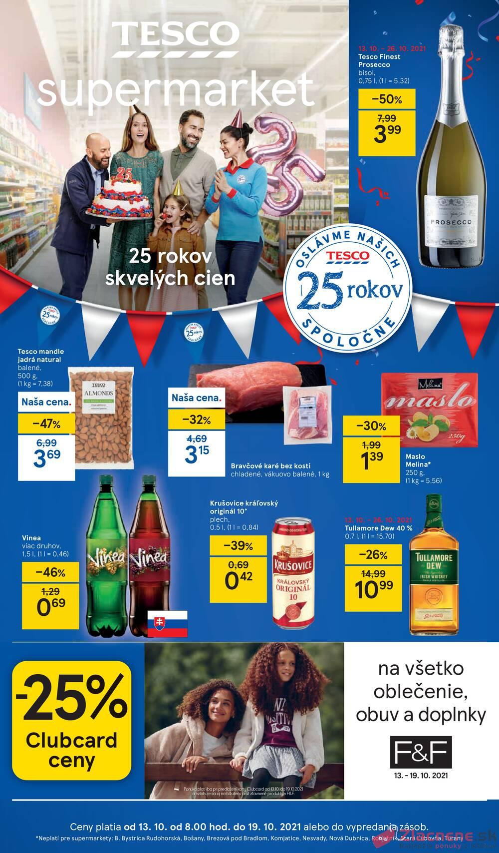 Leták Tesco - Tesco supermarkety od 13.10. do 19.10.2021 - strana 1