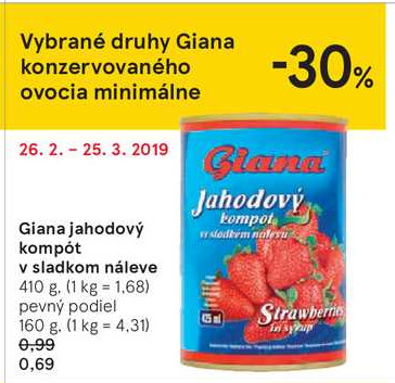 Giana jahodový kompöt v sladkom náleve 410 g